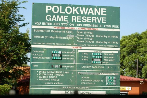 The entrance to Polokwane Game Reserve, South Africa.